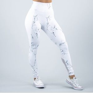 Buff Bunny Marble Leggings Small White Workout
